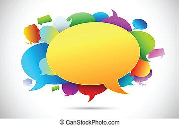 boble, farverig, snakke