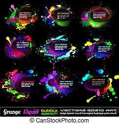 boble, nedgange, grunge, samling