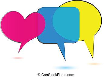 bobler, sociale, logo, medier, tale