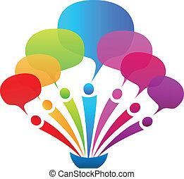 bobler, tale, netværk, firma