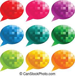 bobler, tale, pixel, farverig