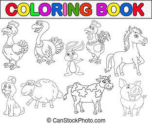 bog, dyr, coloring, agerjord