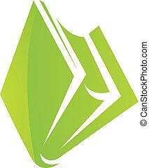 bog, grønne, blanke, ikon