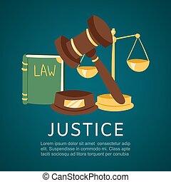 bog, illustration., gårdsplads, cartoon, lobster, retfærdighed, lov, vektor