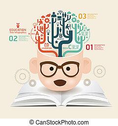 bog, skabelon, bruge, linjer, skære, infographics, /, vektor, website, cutout, horisontale, grafik, avis, diagram, firmanavnet, blive, opsætning, kreative, eller, dåse