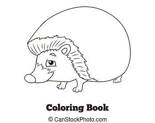 bog, skov, coloring, cartoon, dyr, hedgehog