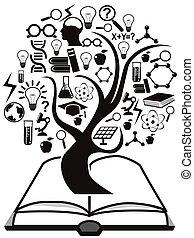 bog, træ, oppe, undervisning, iconerne