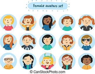 bogstaverne, sæt, 15, avatars, kvindelig