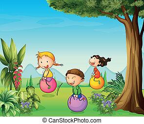 bold, børn, have morskab, tre, hoppen