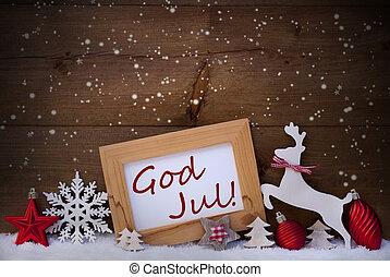 bold, gud, jul, dekoration, reindeer, glædelig jul, rød, betyde