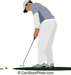 bold, klub, golfer, jern, finder