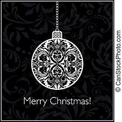 bold, vinhøst, sort, hængende, hvid christmas, card