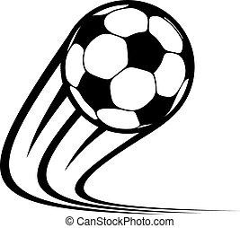 bold, zoomer, flyve, luft, igennem, soccer