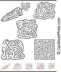 boldspil, labyrint, sæt, leisure