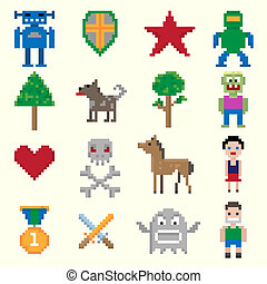 boldspil, pixel, bogstaverne