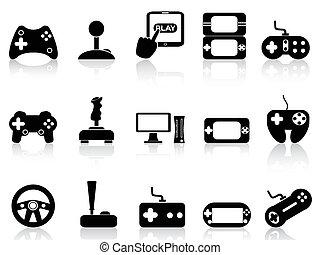 boldspil, sæt, video, joystick, iconerne