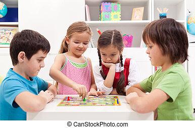 boldspil, spille, planke, børn