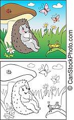 book., hedgehog, children., coloring, insekt, illustration