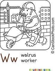 book., w, arbejder, coloring, alfabet, walrus, alfabet.