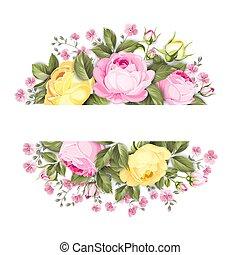 bouquet, roser, tekst, etikette, place., branch, blomstrede, oval