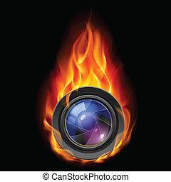 brændende, linse kamera