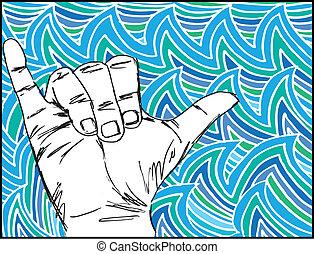 brænding, skitse, vektor, hånd., illustration