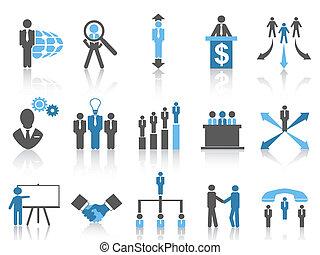 branche blå, series, ledelse, iconerne