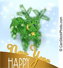 branches, postkort, træ, jul, hundehvalp