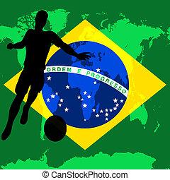 brasilien, mesterskab, fodbold, illustration, flag, vektor, /, brasiliansk, internationale, soccer, 2014