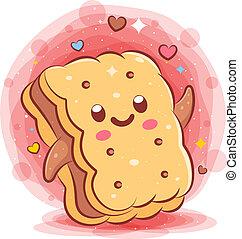 bread, kawaii, cartoon, karakter