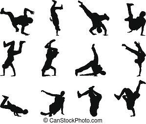 break-dance, sæt, silhuet