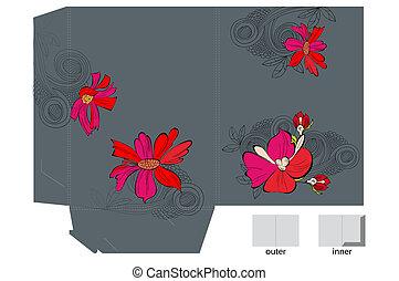 brochuren, blomster, skabelon
