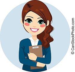 brochuren, businesswoman, holde