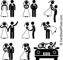 brudgom, brud, ægteskab, bryllup