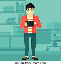 bruge, tablet, computer., mand