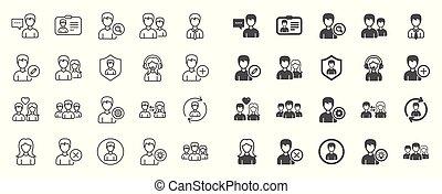 brugere, icons., vektor, profiles., kvindelig, beklæde, mandlig