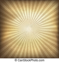 brun, illustration, eps10., baggrund., vektor, retro, sunburst