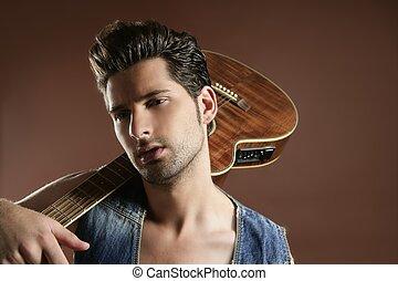 brun, musiker, unge, spiller guitar, sexet, mand