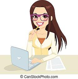 brunette, nerd, arbejder, sekretær