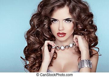 brunette, pige, mode, skønhed, portrait., hen, blå, accessories., hairstyle., baggrund., jewelry