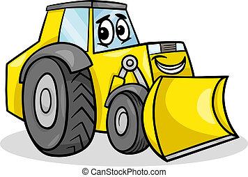 bulldozer, karakter, cartoon, illustration