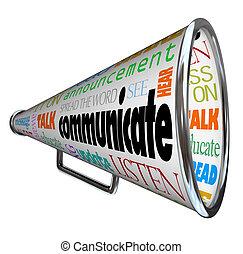 bullhorn, kommunikere, megafon, sprede, glose