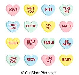bundt, sæt, valentine?s, cartoon, constitutions, forskellige, farve, tekst, lejlighed, slik, vektor