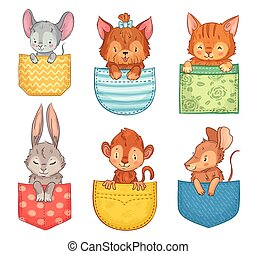 bunny., cute, hund, sæt, dyr, morsom, abe, illustration, animals., lomme, rotte, vektor, lommer, kat, mus, cartoon