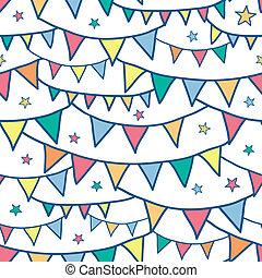 bunting, farverig, doodle, seamless, flag, baggrund mønster