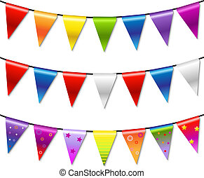 bunting, regnbue, banner, girlande