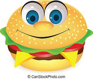 burger, karakter, cartoon