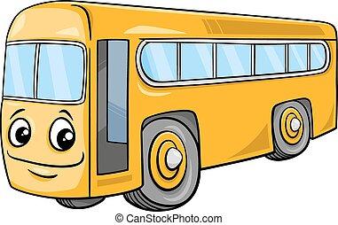 bus, karakter, cartoon, illustration