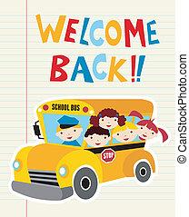 bus, skole, velkommen, tilbage