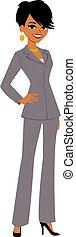 businesswoman, cartoon, kønne, avatar